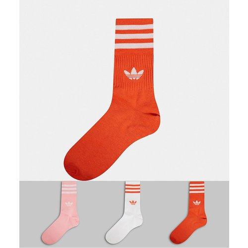 Lot de 3 paires de chaussettes basses - et orange - adidas Originals - Modalova