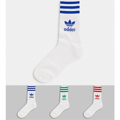Lot de 3 paires de chaussettes - à 3 rayures multicolores - adidas Originals - Modalova