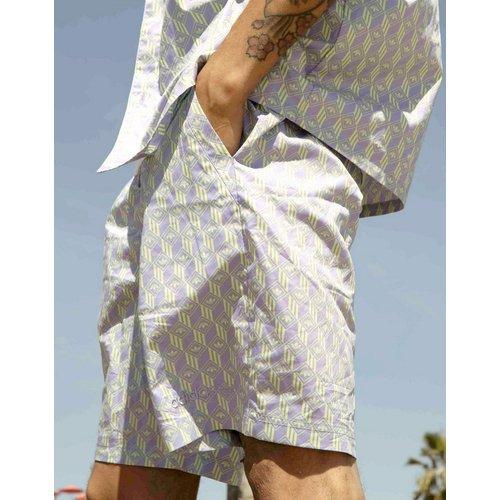 Summer Club - Short avec cordon de serrage et imprimé logo sur l'ensemble - Lilas - adidas Originals - Modalova