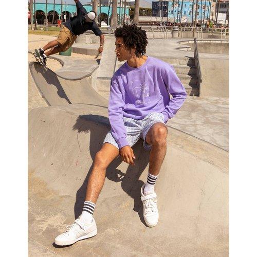 Summer Club - Sweat-shirt oversize à imprimé graphique illustré à la main - Lilas - adidas Originals - Modalova
