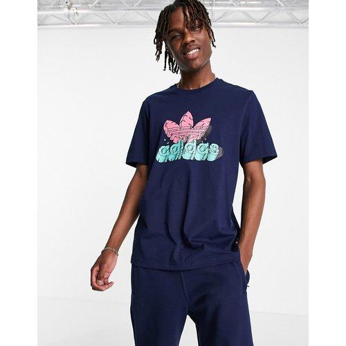 T-shirt à imprimé trèfle - Bleu - adidas Originals - Modalova