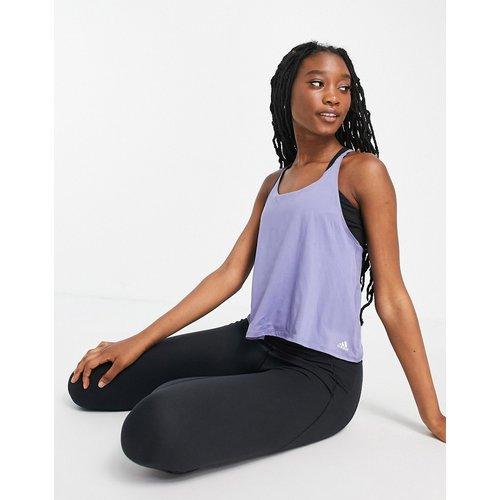 Adidas - Top de yoga avec brides à l'arrière - cendré - adidas performance - Modalova