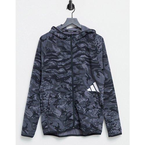 Adidas Training - Hoodie à logo 3bandes - Camouflage gris - adidas performance - Modalova