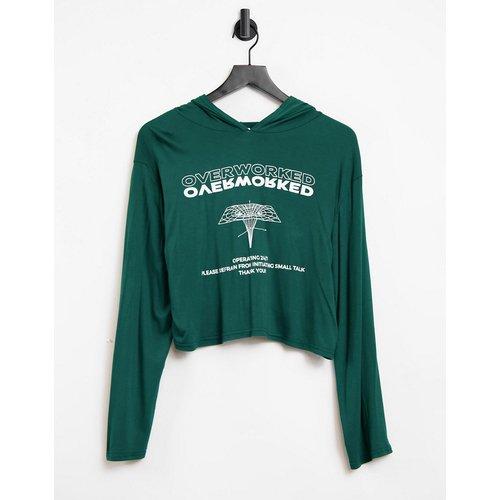 Hoodie confort à imprimé Overworked - Adolescent Clothing - Modalova