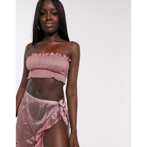 Ensemble avec top bandeau froncé à détail métallisé et jupe portefeuille - Anmol - Modalova
