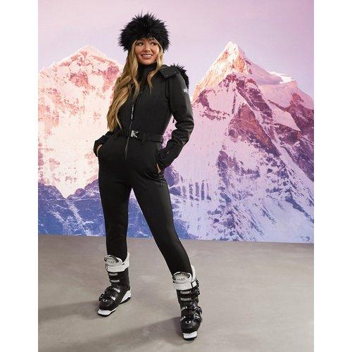 Combinaison de ski ajustée à ceinture avec capuche en fausse fourrure - ASOS 4505 - Modalova