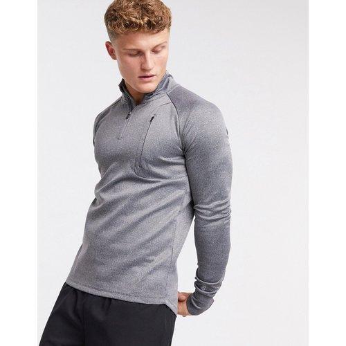 Icon - Sweat-shirt de sport moulant à fermeture éclair 1/4 - chiné - ASOS 4505 - Modalova