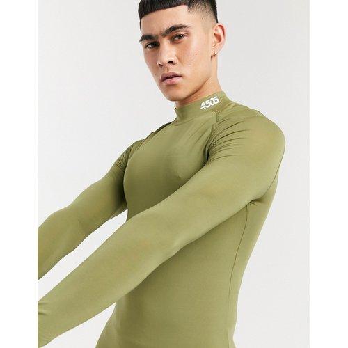 T-shirt de sous-vêtement en polyester recyclé à manches longues avec col montant - ASOS 4505 - Modalova
