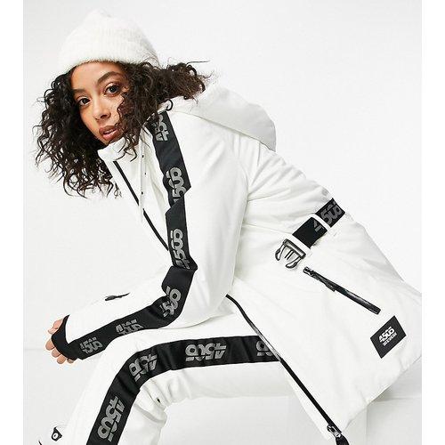 Tall - Veste de ski à ceinture et logo - Noir et blanc - ASOS 4505 - Modalova