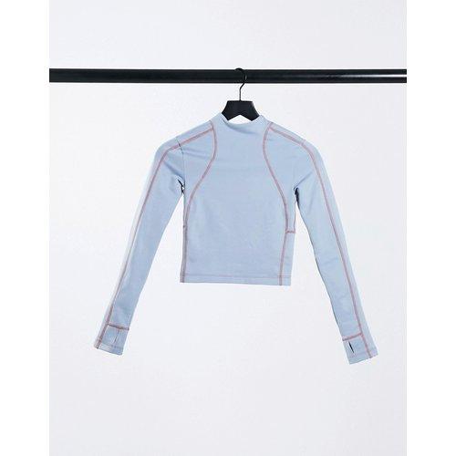 Top de running à manches longues avec col haut et dos en polaire - ASOS 4505 - Modalova