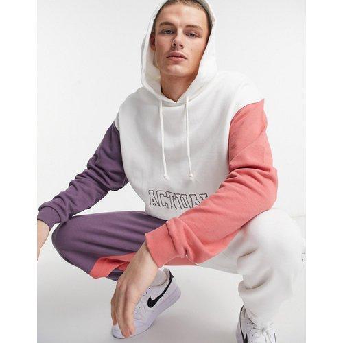 Hoodie oversize d'ensemble à logo brodé et motif color block - Blanc - ASOS Actual - Modalova