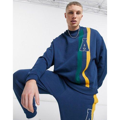 Sweat-shirt d'ensemble oversize avec bandes façon coupé-cousu - Bleu - ASOS Actual - Modalova