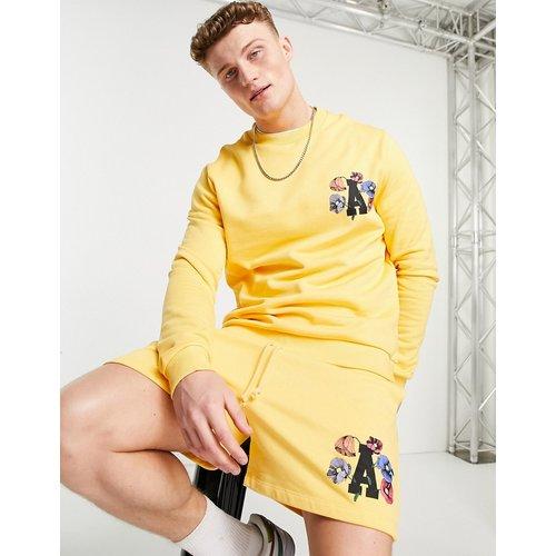 Sweat-shirt oversize avec imprimé floral et logo (pièce d'ensemble) - ASOS Actual - Modalova