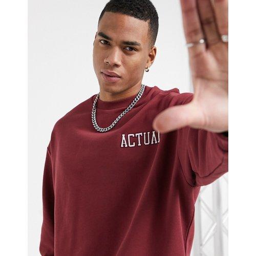 Sweat-shirt oversize avec logo brodé - Bordeaux - ASOS Actual - Modalova
