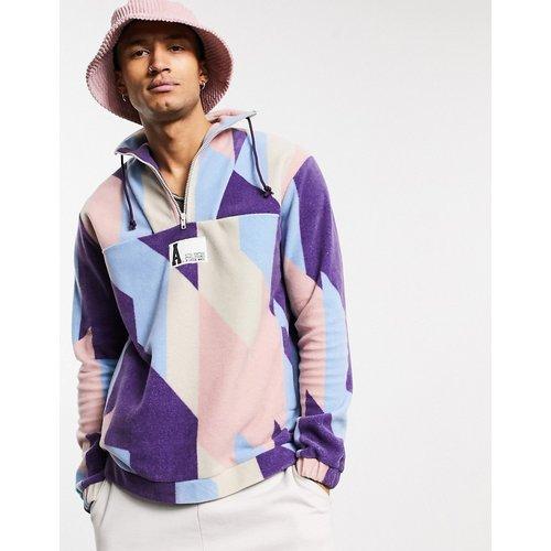 Sweat-shirt oversize en polaire avec logo à demi-fermeture éclair et imprimé sur l'ensemble - ASOS Actual - Modalova