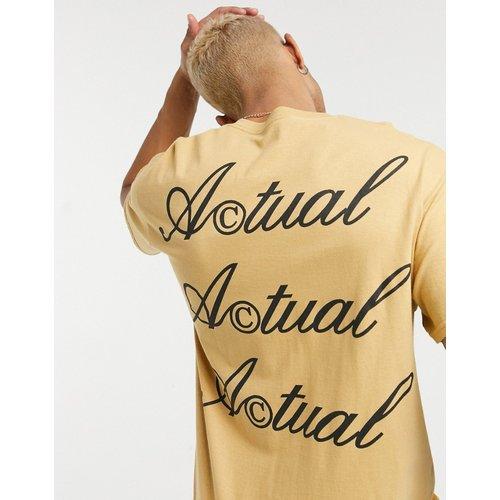 ASOS - Actual - T-shirt avec logo imprimé au dos - Moutarde - ASOS Actual - Modalova