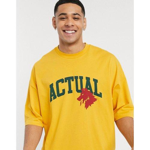 T-shirt oversize avec logo Actual et manches retroussées - ASOS Actual - Modalova