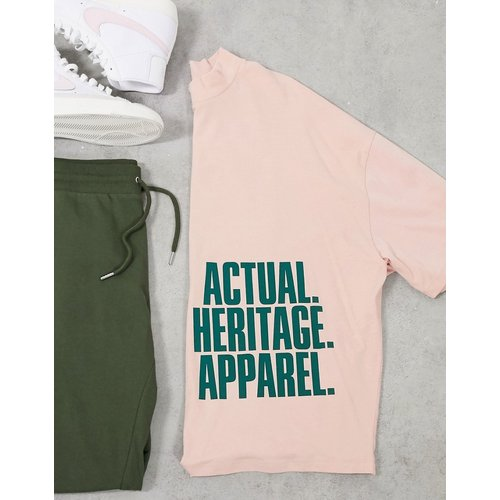 ASOS - Actual - T-shirt oversize col montant avec inscription imprimée - clair - ASOS Actual - Modalova