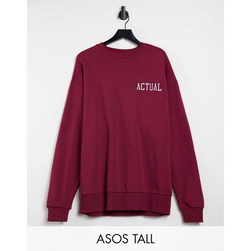 Tall - Sweat-shirt oversize avec logo brodé - Bordeaux - ASOS Actual - Modalova
