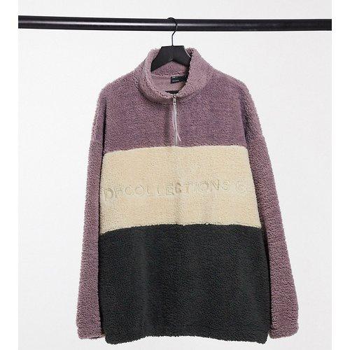 Plus - Sweat-shirt oversize imitation peau de mouton color block - ASOS Dark Future - Modalova
