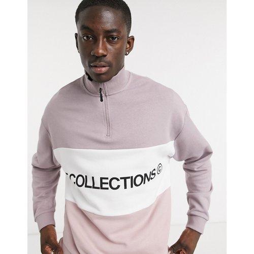 Sweat-shirt oversize à demi-fermeture à glissière et découpe avec logo brodé - ASOS Dark Future - Modalova