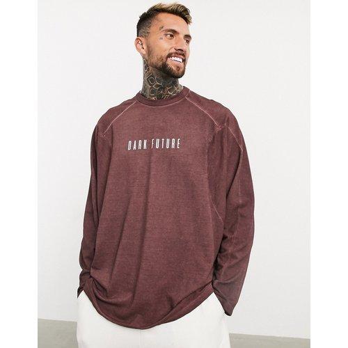ASOS - Dark Future - T-shirt oversize à manches longues en piqué délavé avec détails passepoilés et inscription - ASOS Dark Future - Modalova