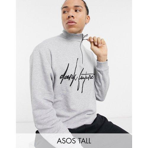 Tall - Sweat-shirt oversize à demi-fermeture à glissière d'ensemble avec logo sur la poitrine - chiné - ASOS Dark Future - Modalova