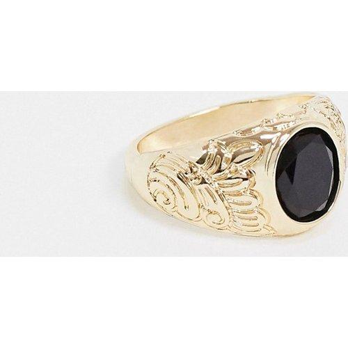 Bague avec pierre noire - brillant - ASOS DESIGN - Modalova