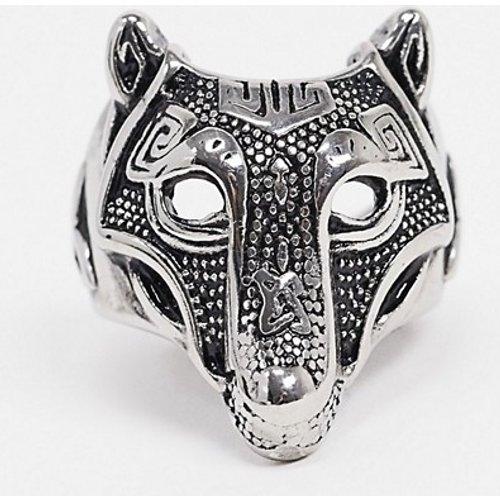 Bague en acier inoxydable motif loup style tatouage - ASOS DESIGN - Modalova