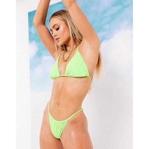 Bas de bikini tanga minimaliste côtelé - fluo - ASOS DESIGN - Modalova