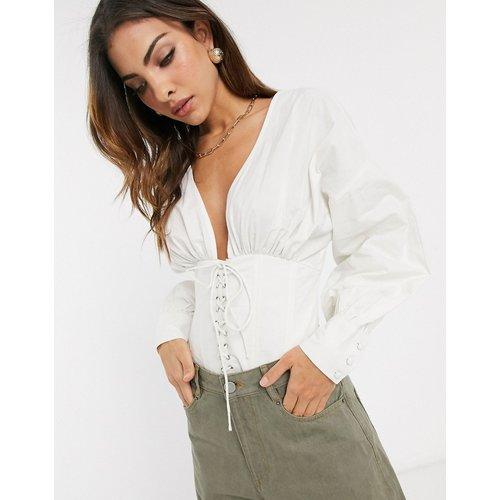 Blouse en coton avec détail corset - ASOS DESIGN - Modalova