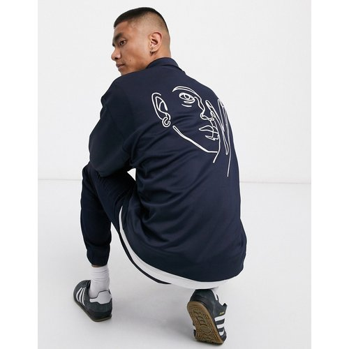 Blouson Harrington en jersey avec motif brodé - Bleu marine - ASOS DESIGN - Modalova
