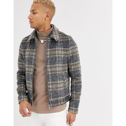 Blouson Harrington jacket à carreaux en laine mélangée - ASOS DESIGN - Modalova