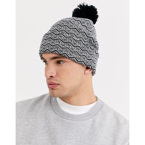 Bonnet en jacquard avec pompon - Noir et blanc - ASOS DESIGN - Modalova