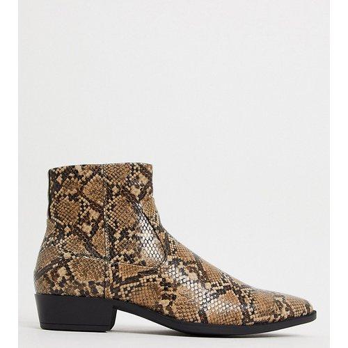 Bottines Chelsea pointure large style western en imitation cuir avec effet serpent et talon cubain - ASOS DESIGN - Modalova