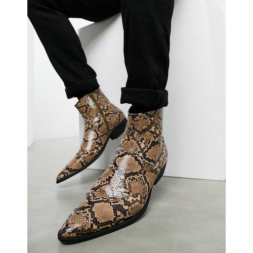 Bottines Chelsea style western à talons cubains en imitation cuir façon serpent - ASOS DESIGN - Modalova