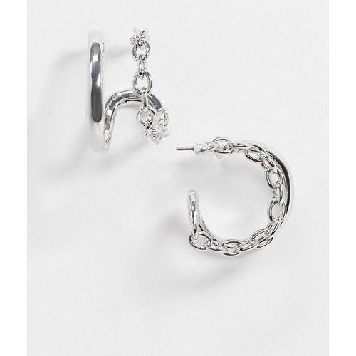 Boucles d'oreilles à double anneau avec chaîne - ASOS DESIGN - Modalova