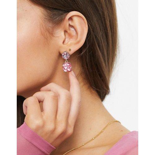 Boucles d'oreilles à pendants avec pierres roses - ASOS DESIGN - Modalova