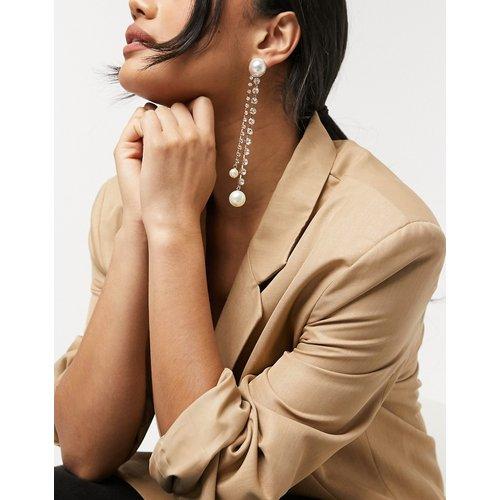 Boucles d'oreilles avec clou orné d'une perle et brins pendants en cristal - ASOS DESIGN - Modalova