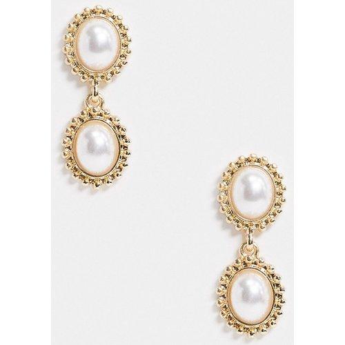 Boucles d'oreilles avec deux petites perles pendantes - ASOS DESIGN - Modalova