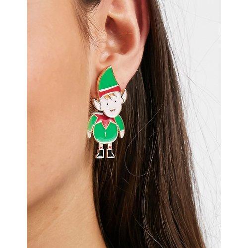 Boucles d'oreilles de Noël motif elfe devant et derrière - ASOS DESIGN - Modalova