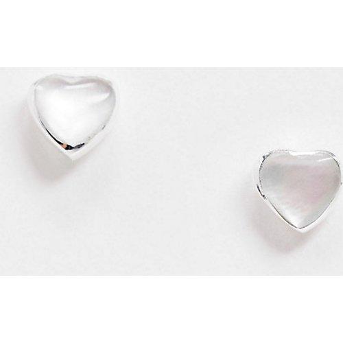 Boucles d'oreilles en argent massif avec cœur orné de fausses pierres - ASOS DESIGN - Modalova