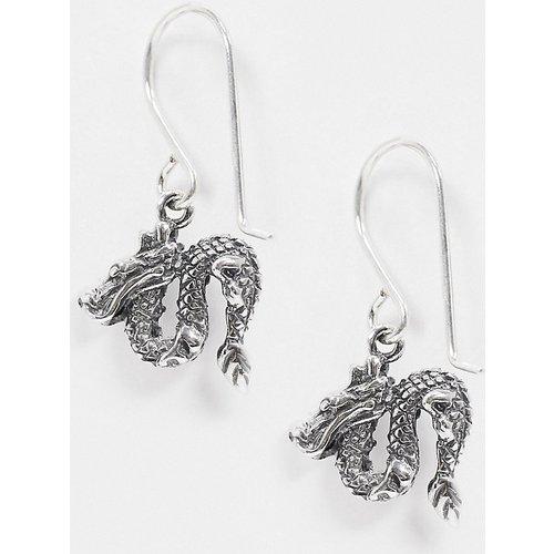 Boucles d'oreilles en argent massif avec dragon - ASOS DESIGN - Modalova