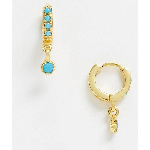 Boucles d'oreilles en argent massif plaqué or avec breloques et pierres turquoise - ASOS DESIGN - Modalova