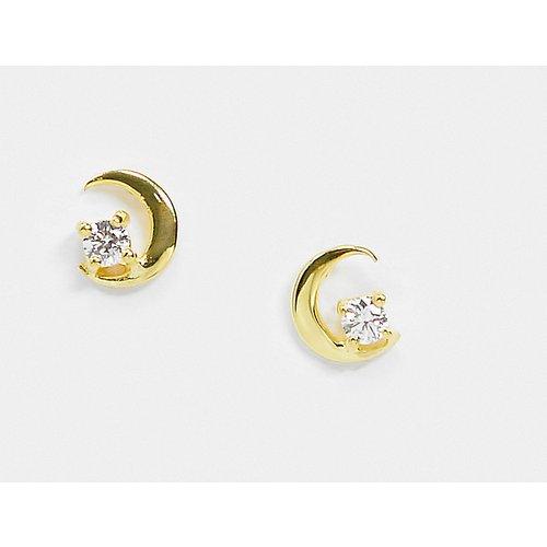 Boucles d'oreilles en argent massif plaqué or avec motif lune orné de cristal - ASOS DESIGN - Modalova