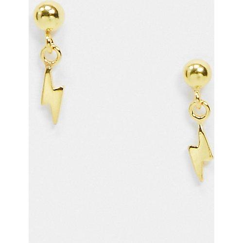 - Boucles d'oreilles en argent massif plaqué or avec petite breloque éclair - ASOS DESIGN - Modalova