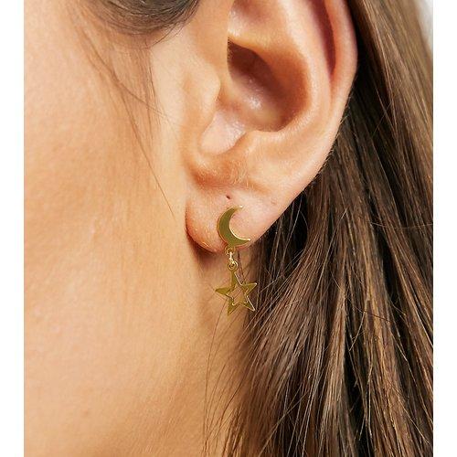 Boucles d'oreilles en argent massif plaqué or motifs pendants lune et étoile - ASOS DESIGN - Modalova