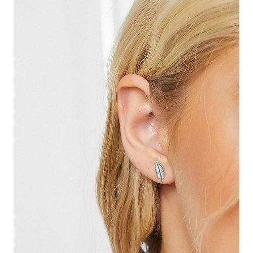 Boucles d'oreilles en forme de plume en argent massif - ASOS DESIGN - Modalova