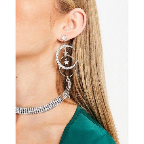 Boucles d'oreilles lunes avec étoiles pendantes en strass - é - ASOS DESIGN - Modalova