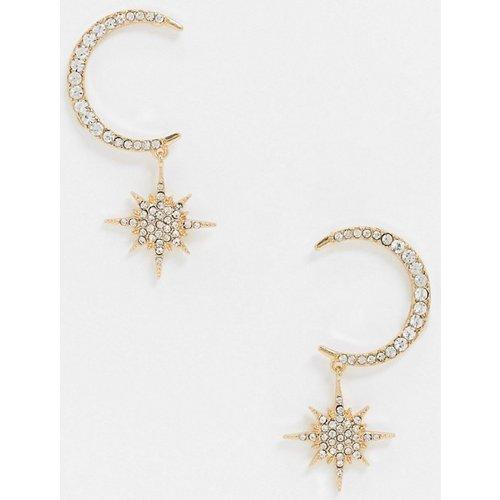 Boucles d'oreilles lunes avec étoiles pendantes strassées - ASOS DESIGN - Modalova